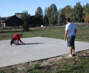 Determine the center of the patio